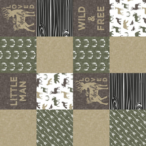 Little Man/Wild & Free - Woodland patchwork - C2 Linen (90) C19BS