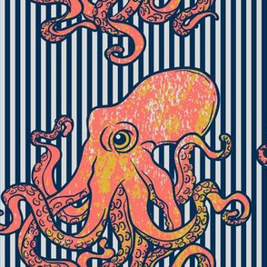 Octopus Nautical Blue Stripe