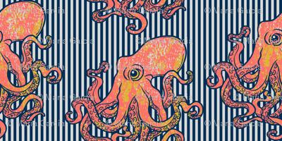 Octopus Nautical Blue Stripe Large