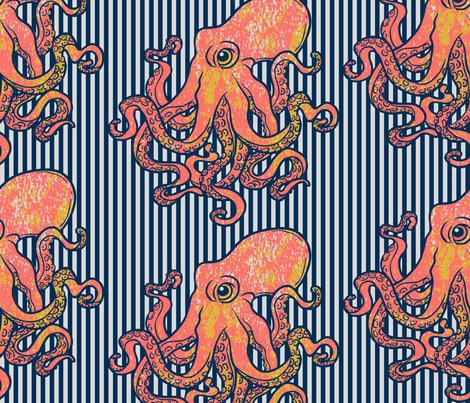 Octopus Nautical Blue Stripe Large  fabric by mariafaithgarcia on Spoonflower - custom fabric