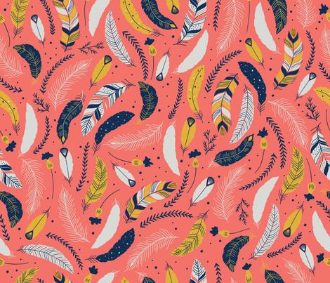 Flying Feathers fabric by yellowinkstudio on Spoonflower - custom fabric