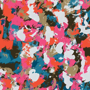 Colorful camo in blue pink orange and white