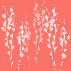 Large Pussywillow Sprigs Silhouette   Coral Solid Background + White