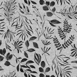 TEXTURED PATTERN Black ink foliage leaves on grey background