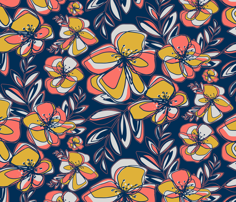 Coral limited color palette fabric by odettel on Spoonflower - custom fabric