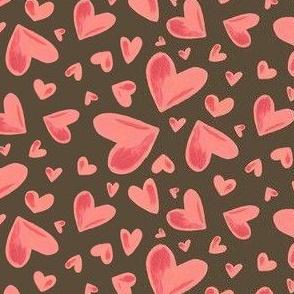 Watercolor Hearts brown