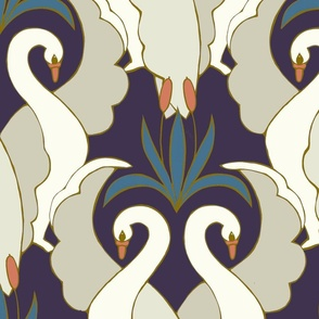 Art Deco Swans Plum & Teal Large Scale
