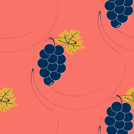 coral and grapes fabric by bdarbydesigns on Spoonflower - custom fabric