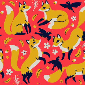 foxes and ravens in coral {large}