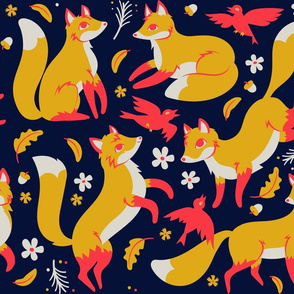 foxes and ravens in midnight  {large}