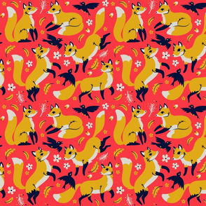 foxes and ravens in coral {small}