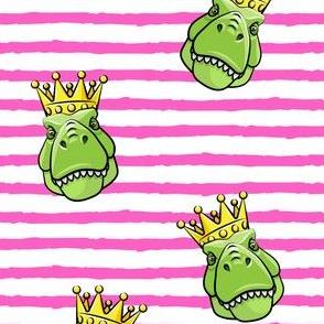 Tyrannosaurus rex with crown - pink stripes -  dinosaur trex LAD19