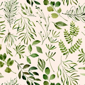 Botanical print green leaves foliage on cream background
