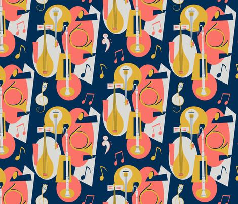 Mod Cat Music fabric by julia_diane on Spoonflower - custom fabric