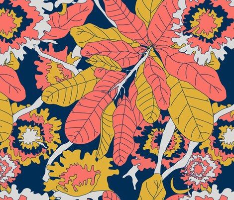 Bold Banana Leaf Jungle Floral - Limited Color Palette 2019 fabric by elliottdesignfactory on Spoonflower - custom fabric