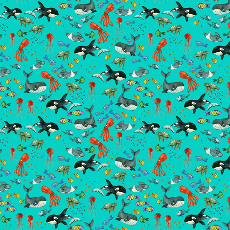 Ocean Pals - Teeny Tiny Scale on Turquoise fabric by taraput on Spoonflower - custom fabric