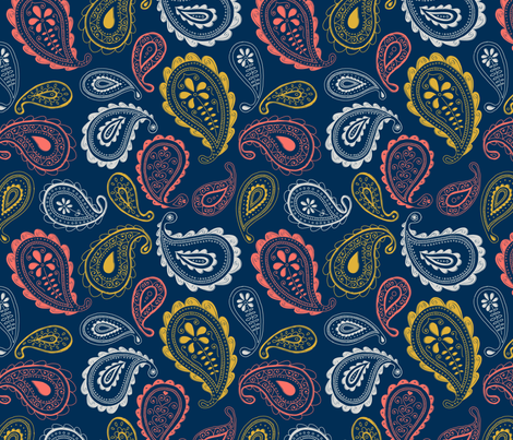 Ornate Paisley navy fabric by jenuine_designs on Spoonflower - custom fabric