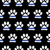 K-9 unit Thin blue line - police dog paw on black - LAD19