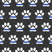 K-9 unit Thin blue line - police dog paw on grey linen - LAD19
