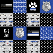 K-9 unit Police Patchwork - thin blue line paw print - back the blue wholecloth LAD19