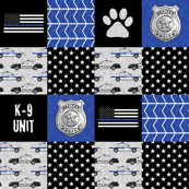 K-9 unit Police Patchwork - K9 unit  paw print - back the blue wholecloth  LAD19