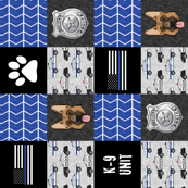 K-9 unit Police Patchwork - German shephard- thin blue line - back the blue wholecloth (90) LAD19