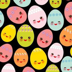 Happy Easter. Kawaii eggs