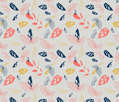 Leafy Coral  fabric by this_lovely_home on Spoonflower - custom fabric