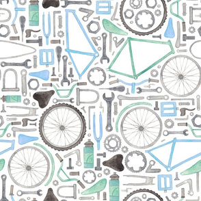 Bike Parts, Cycling Pattern in blue!