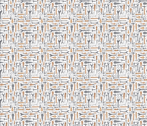 (extra extra small) Workmans Tools in Watercolour fabric by elena_o'neill_illustration_ on Spoonflower - custom fabric