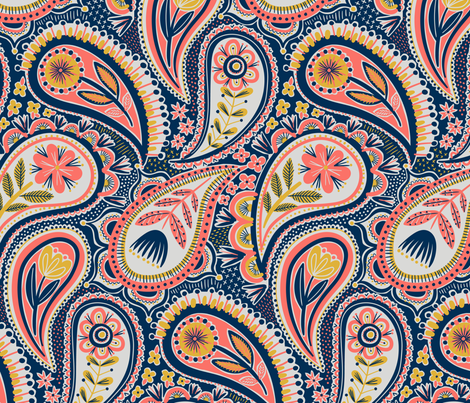 limited colour paisley fabric by laura_may_designs on Spoonflower - custom fabric