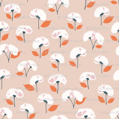 King Cherry / orange pressed flowers cherry blossoms