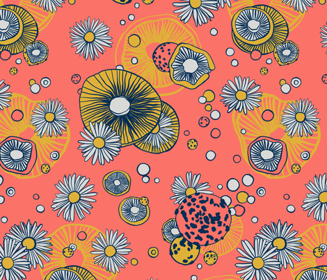 Shrooms 'n Blooms (Coral Fusion) fabric by michelleaitchison on Spoonflower - custom fabric