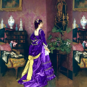 purple gowns bustle baroque victorian flowers floral beauty lace ballgowns rococo portraits beautiful lady yellow bows fans gold gilt vase paintings woman elegant gothic lolita egl neoclassical  historical romantic 19th century