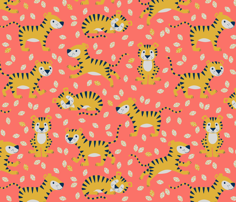 tigers and leaves fabric by heleenvanbuul on Spoonflower - custom fabric