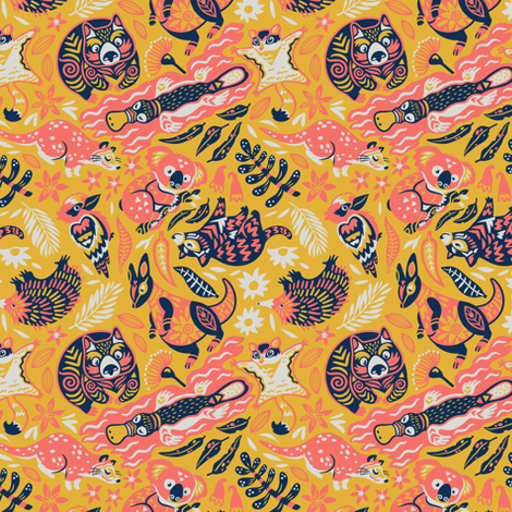Australian animals fabric by penguinhouse on Spoonflower - custom fabric