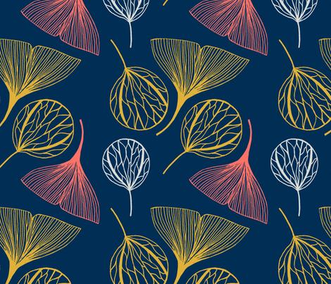 Ink leaf  fabric by ocaelis_studio on Spoonflower - custom fabric