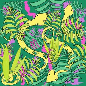 Bohemian Tropical Jungle Snakes in jungle green