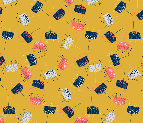 indian flowers yellow fabric by sissi-tagg on Spoonflower - custom fabric