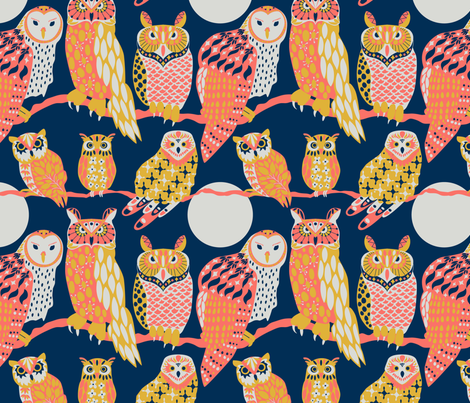 Owling at the Moon fabric by kittenmoonstudio on Spoonflower - custom fabric