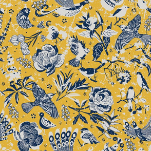 Birds in the snow | yellow