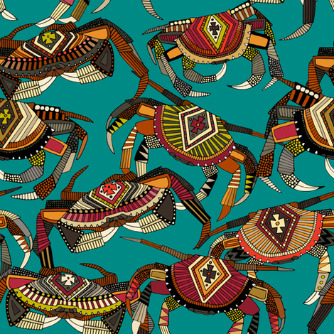 crabs teal small fabric by scrummy on Spoonflower - custom fabric