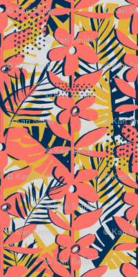 cut paper floral in living coral palette