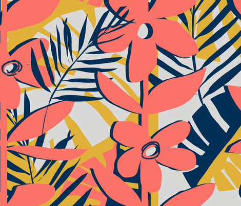 cut paper floral in living coral palette fabric by karismithdesigns on Spoonflower - custom fabric