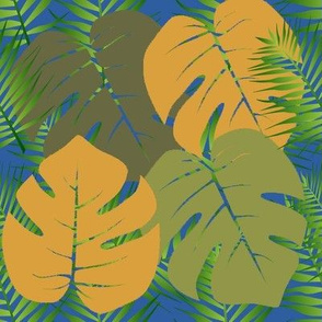 Palm Leaves on Blue