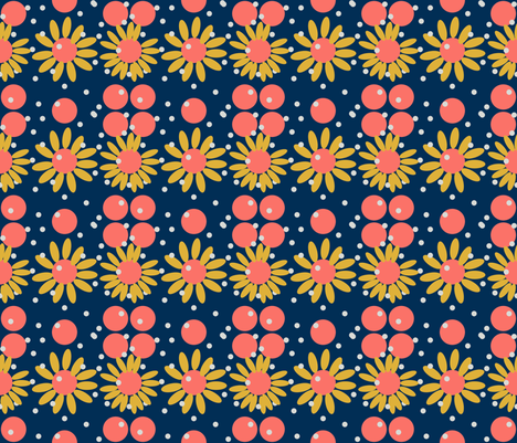 Daisies With Dots-ed fabric by katawampus on Spoonflower - custom fabric