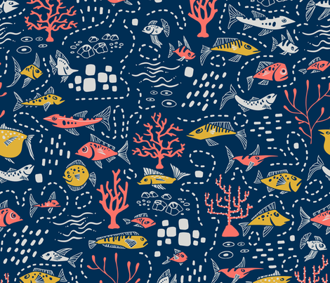 Under the sea fabric by petite_salade_designs on Spoonflower - custom fabric