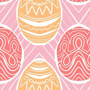 pastel pysanky in peach and coral