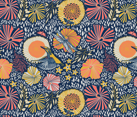 Kingfisher with flowers fabric by nina_leth on Spoonflower - custom fabric