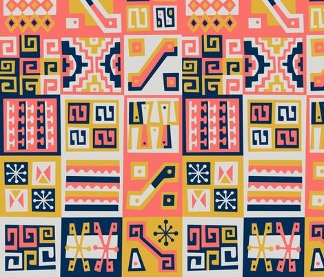 Gold & Coral Treasure fabric by elphbatt on Spoonflower - custom fabric